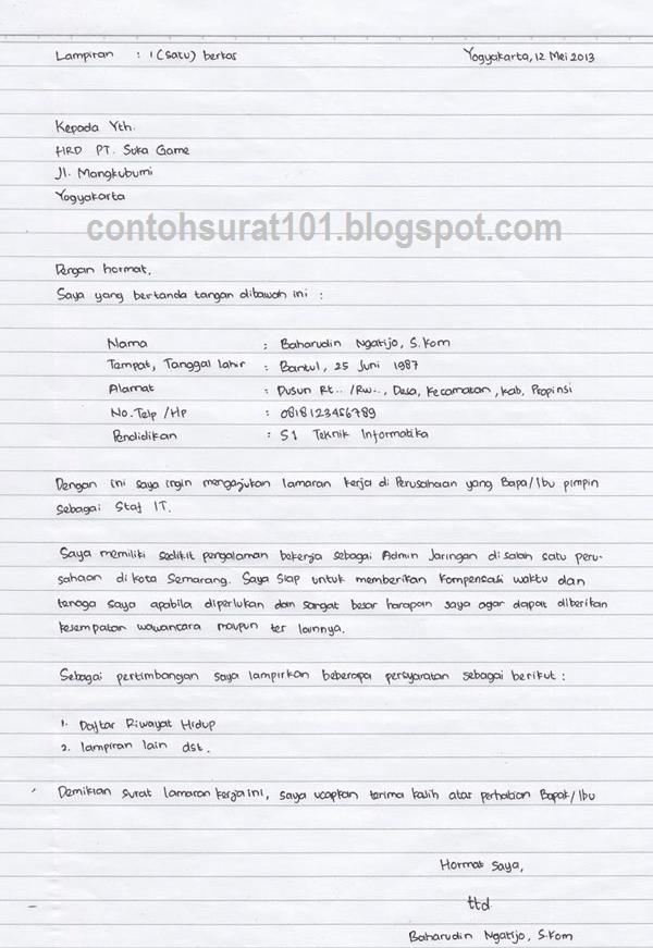 18 Contoh Surat Lamaran Tulis Tangan Tni Ad