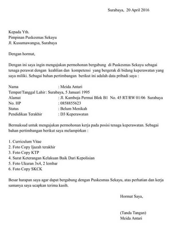 96 Contoh Surat Lamaran Kerja Perawat Rumah Sakit