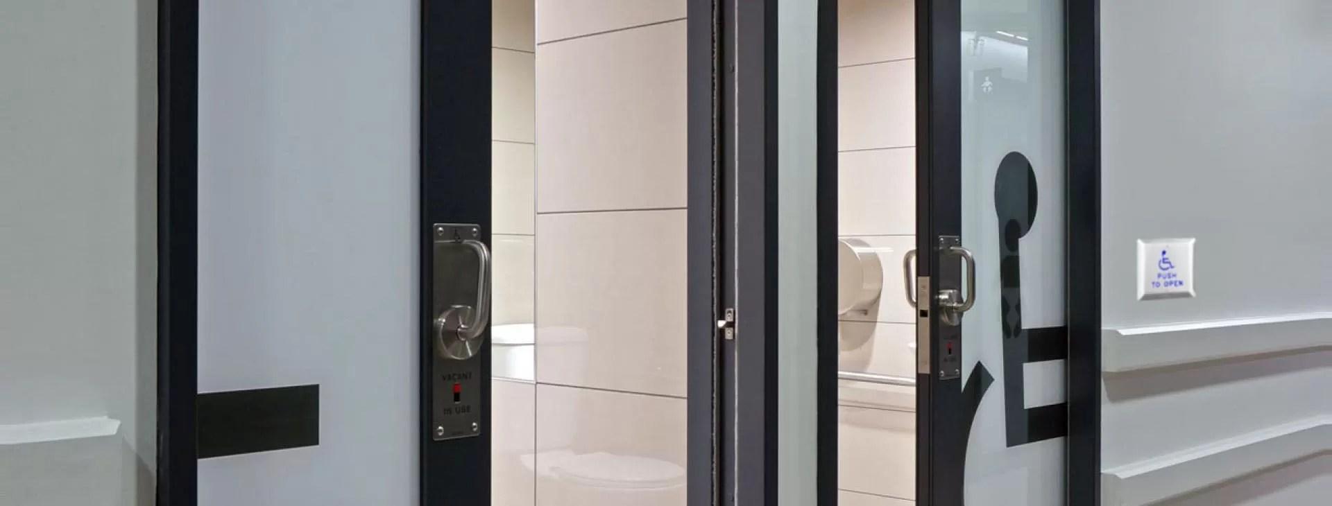 Automatic toilet Doors opener installation