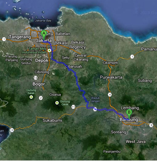 Rute touring ke Bandung dari Jakarta : Via Cileungsi, Jakarta - Cileungsi - Padalarang - Bandung