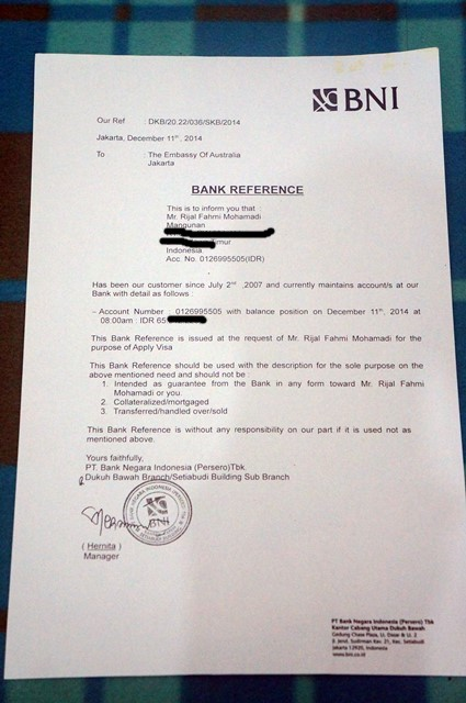 Contoh surat referensi bank atau bank reference yang saya gunakan untuk apply Visa WHV Australia.