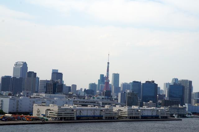 Dari atas Rainbow Brige yang menuju ke Odaiba, bisa terlihat dengan Jelas Tokyo Tower.