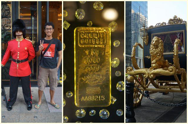 Penjaga batangan emas, emas asli dan kereta kencana emas milik Jackie Chan? Entahlah~