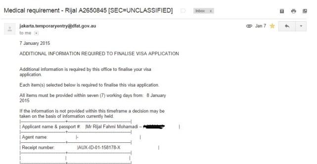 Setelah dokumen masuk ke AVAC, dan diterima embassy saya menerima email berisi HAP ID Visa WHV Australia.