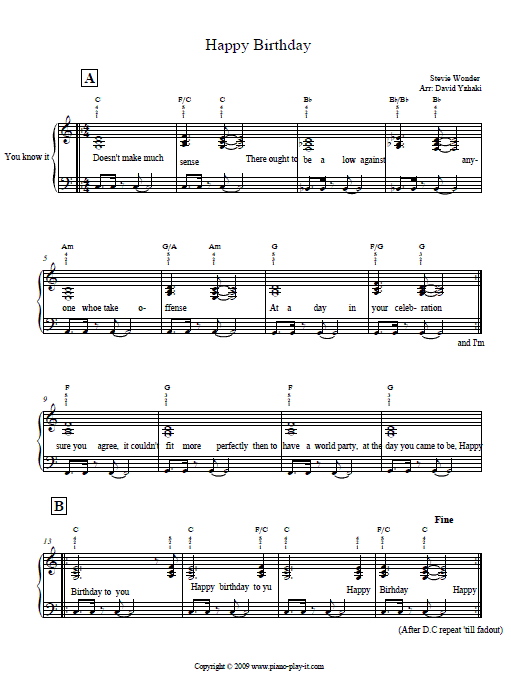 Happy Birthday Keyboard Notes For Beginners