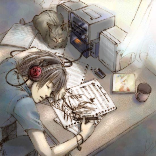 Headphone Anime Boy Listening To Music Wallpaper