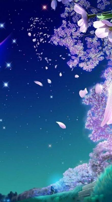 Wallpaper Anime Cherry Blobom Background