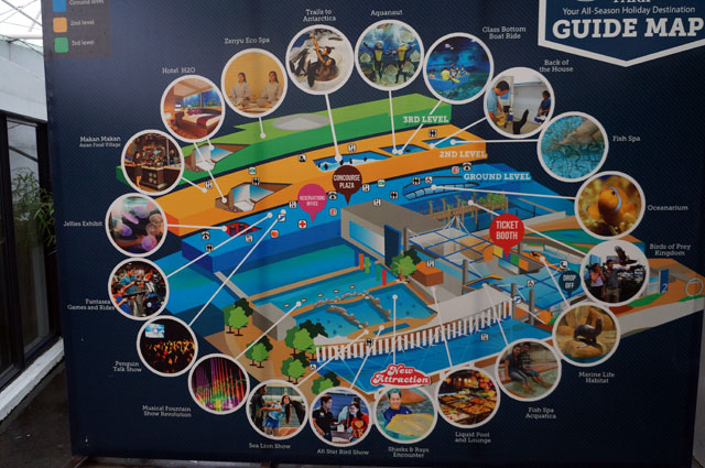 This is the Guide Map, listing all attractions that Manila Ocean Park have.