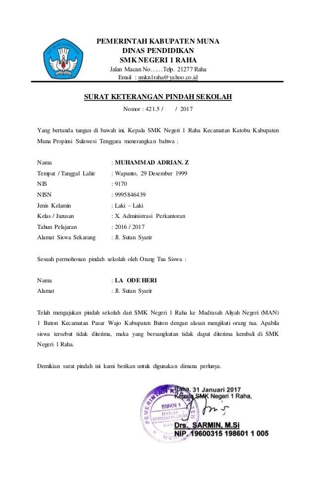 Contoh Surat Pernyataan Pindah Sekolah - Download Kumpulan