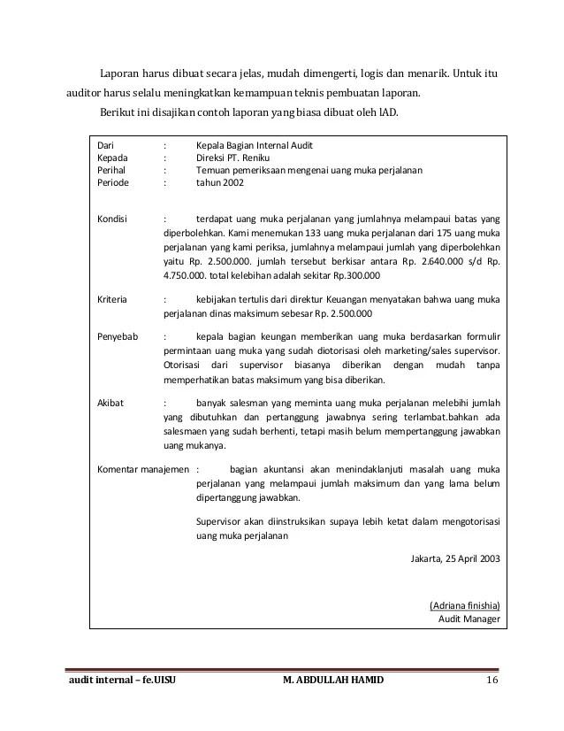 Temuan Contoh Laporan Audit Dalaman
