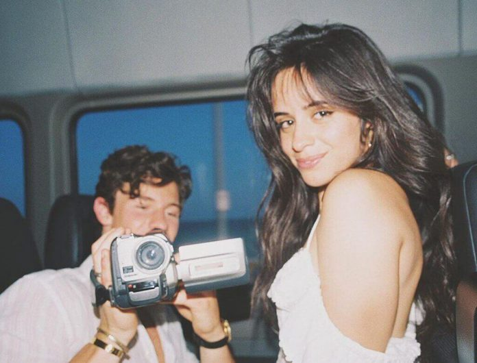 Camila Cabello and Shawn Mendes share a loving shot.  Love blossoms?