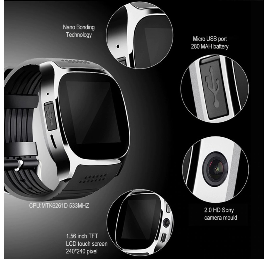 Textured Strap Smart Watch with Camera