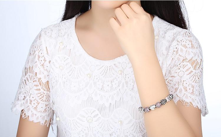 Women's Elegant Silver Beaded Bracelet