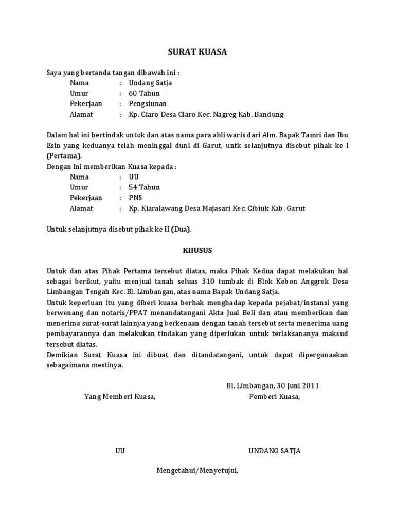 13+ Contoh surat kuasa dari ahli waris terbaru terbaru