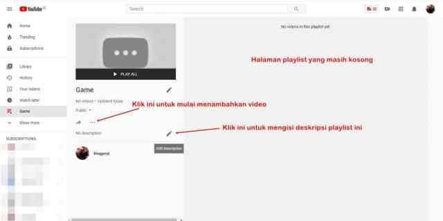 Halaman playlist di Youtube yang masih kosong dan tidak ada video di dalamnya.