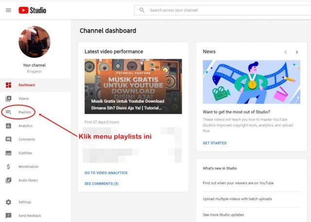 klik menu playlist di Yotube Studio.