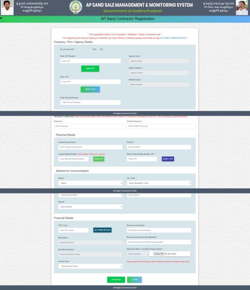 Ap Sand contractor registration form, APMDC, sand.ap.gov.in