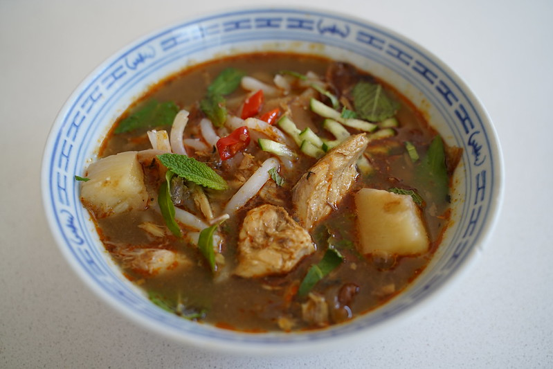 Asam laksa is typically made with fatty fish like fresh mackerel or sardines, which are excellent sources of omega-3 fatty acids