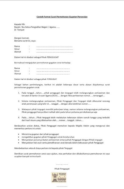 Contoh Surat Pernyataan Menyetujui Gugatan Cerai Download Kumpulan Gambar