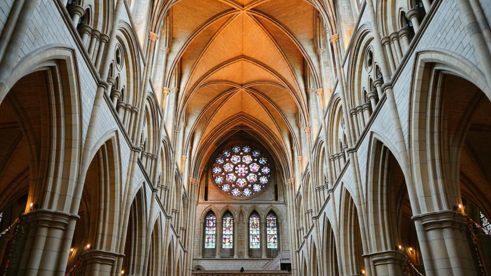 architecture building chapel cathedral church interior arches patterns perspective ceiling windows stained glass truro cornwall england united kingdom