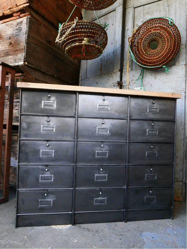 ancien meuble console 15 casiers industriel a clapet roneo 1950 plateau chene massif