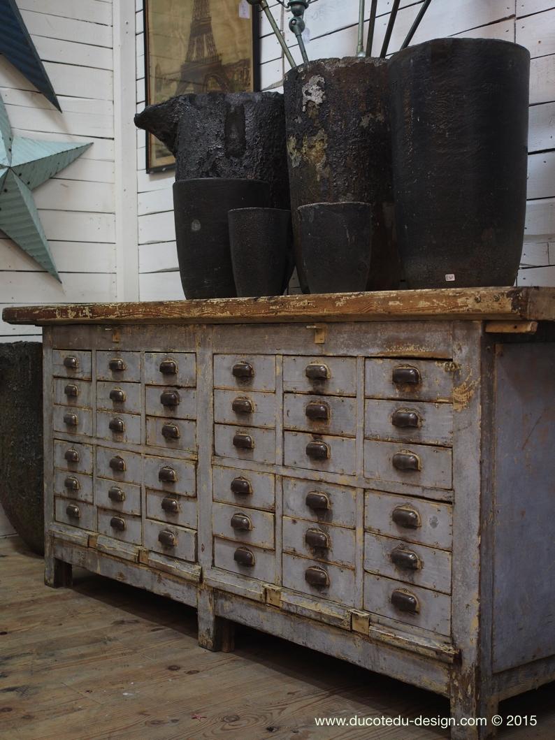 meuble metier etabli industriel bois 36 tiroirs