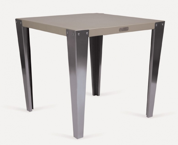 table bistrot carree pieds inox table