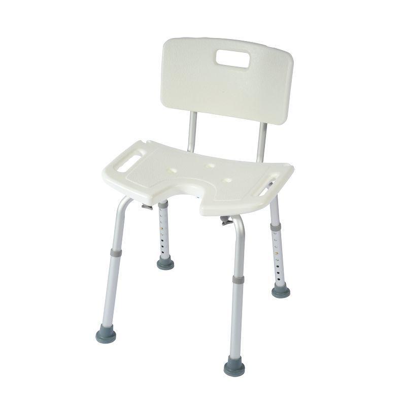 chaise de douche avec decoupe anatomique poignees hauteur du siege reglable assise perforee en plastique poids maxi 100 kg