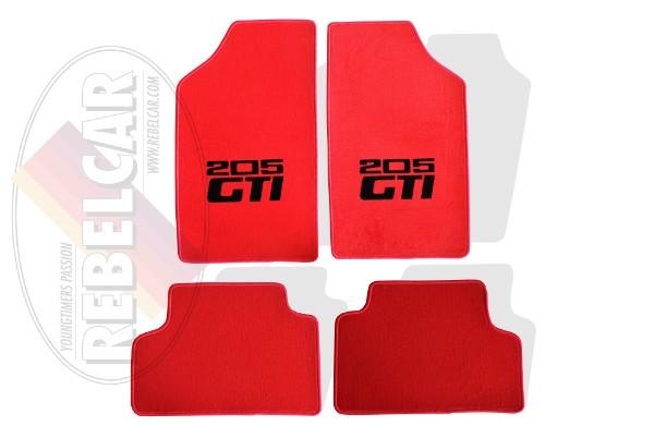 set de tapis de sol velours rouges pour 205 gti avec coutures rouges et logos noirs centraux horizontaux