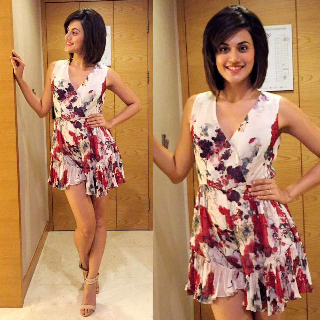 Tapsee Pannu In A Floral Printed Dress From Varun Bahl
