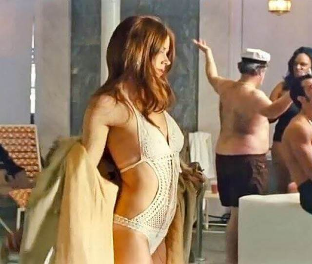 Amy Adams In American Hustlesports A Whie Crochet Monokini Photo Credit Www Cinemazzi