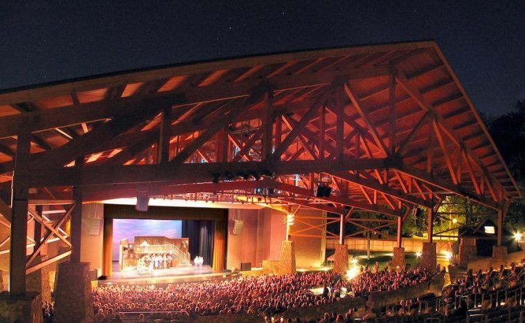 Iroquois Park Amphitheater at night Olmsted Park Louisville