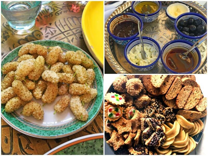 Mûres (à gauche); Miel, huile d'olive et autres tapenades et tartinades pour les galettes de maïs à la marocaine (en haut à droite); une sélection de biscuits à base d'amandes (en bas à droite)