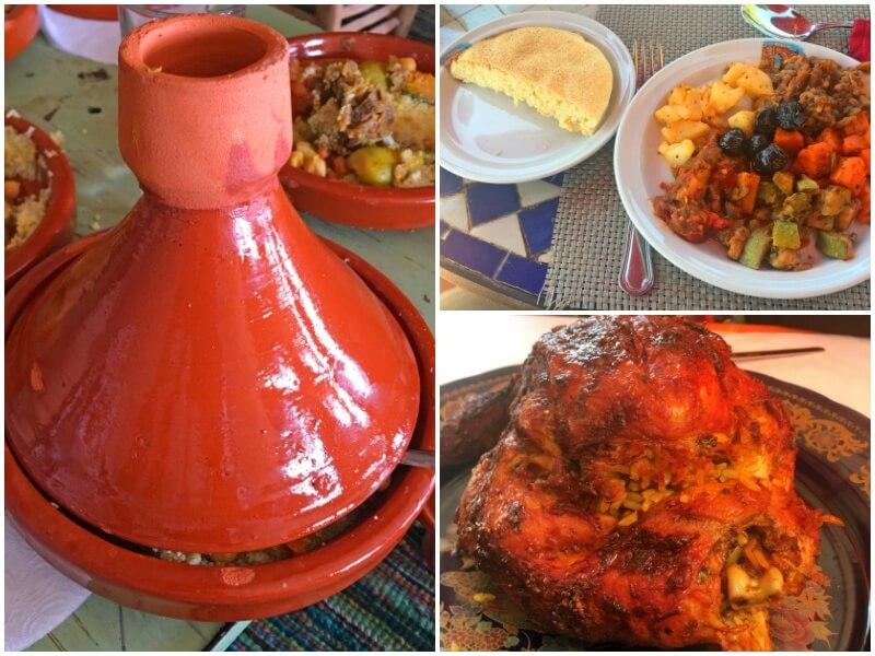Un tajine abrite du couscous, des légumes et de l'agneau (à gauche); une assiette de légumes et d'olives, accompagnée de pain plat (en haut à droite); poulet farci frit (en bas à droite)
