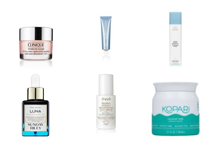 Quench skin's summer thirst with these ultra-hydraing prodcuts. The Clinique moisture surge is $39, the Sunday Fridays Jet Lag mask is $48, the Drunk Elephant hydrating serum is $52, the Sunday Riley Luna oil is $105, the Fresh face serum is $68 and the Kopari Coconut Melt is $28. Images: Sephora