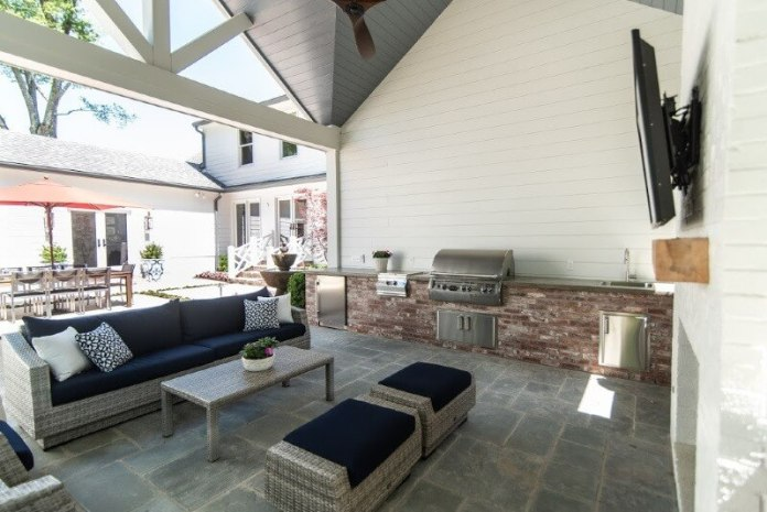 Full kitchen, TV fireplace and more in outdoor living area