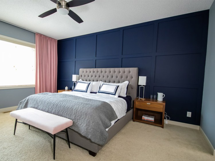 Master Bedroom Diy Millwork Feature Wall Styled To Sparkle