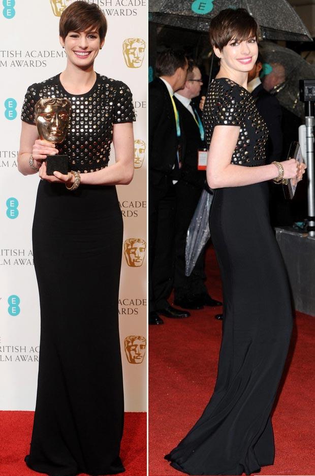 Anne Hathaway Burberry black studded dress 2013 BAFTA