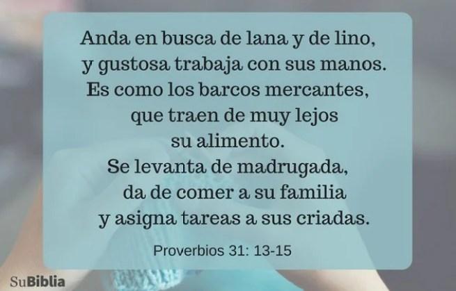 Proverbios 31:13-15