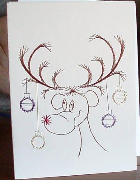 Christmas Card Reindeer Hand Embroidered Sinderblu