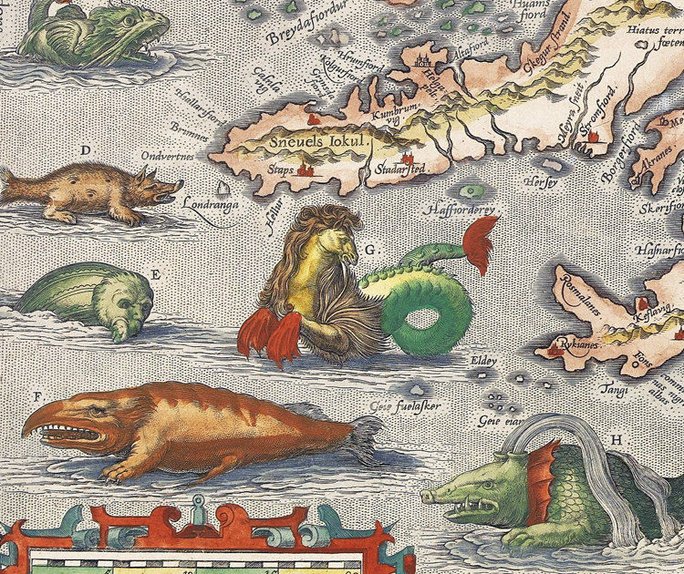 Maps World Sea 1500s Monsters