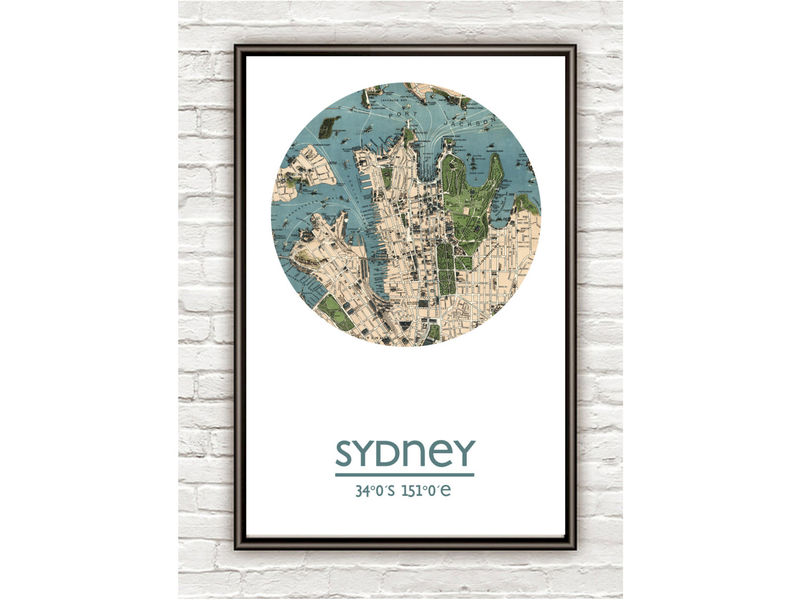 SYDNEY   city poster   city map poster print   OLD MAPS AND VINTAGE     SYDNEY   city poster   city map poster print   product image