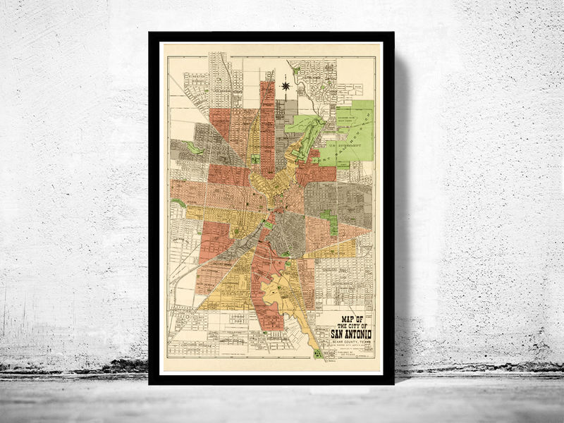 Old map of San Antonio Texas 1924   OLD MAPS AND VINTAGE PRINTS Old map of San Antonio Texas 1924   product image