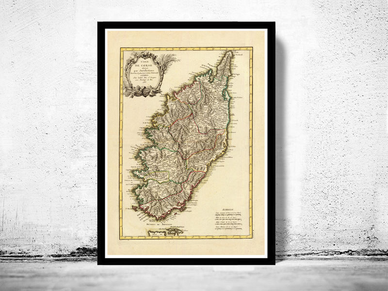 Old Map of Corsica Isle de Corse 1783   OLD MAPS AND VINTAGE PRINTS Old Map of Corsica Isle de Corse 1783   product image
