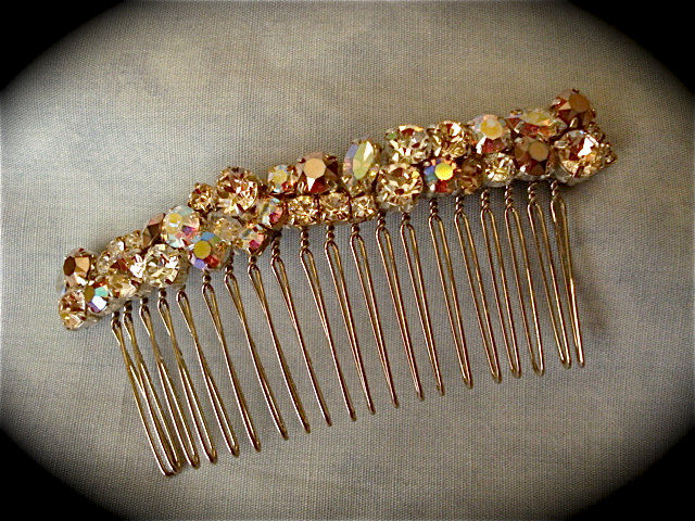 Swarovski Rose Gold Crystal Comb The Crystal Rose Bridal