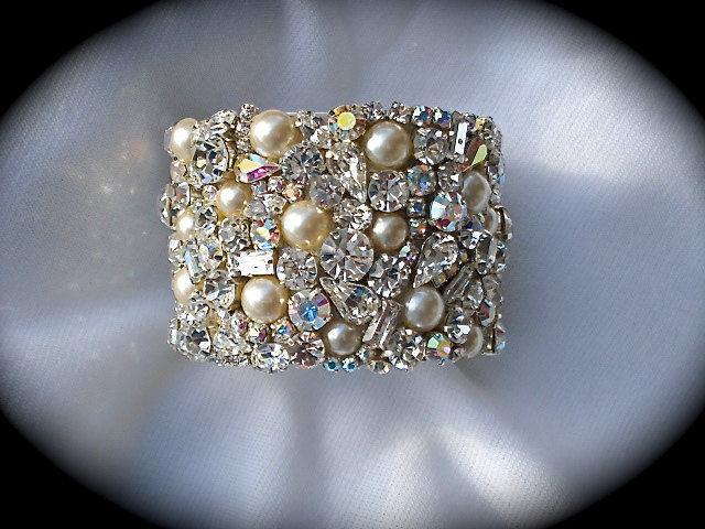 Chunky Swarovski Crystal And Pearl Bridal Statement