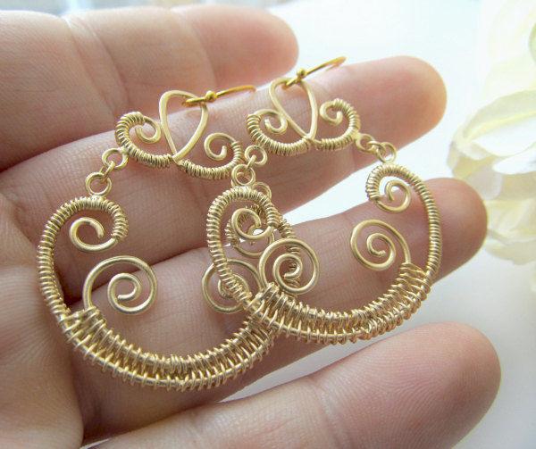 Gold Brass Chandelier Wire Wred Earrings Fancy Special Ocassion