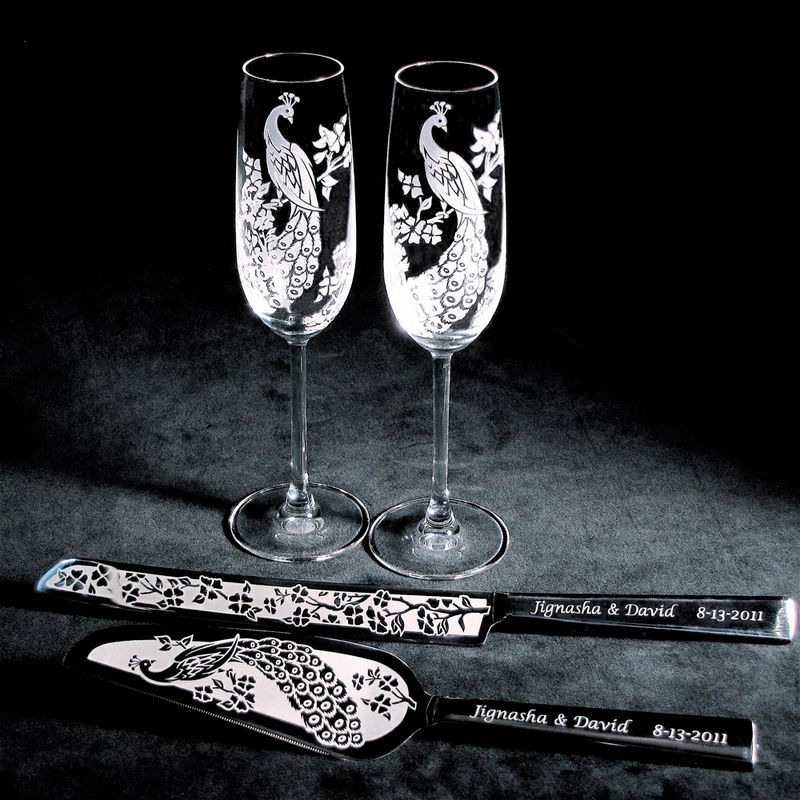 Peacock Wedding Cake Server And Knife Champagne Flute Set