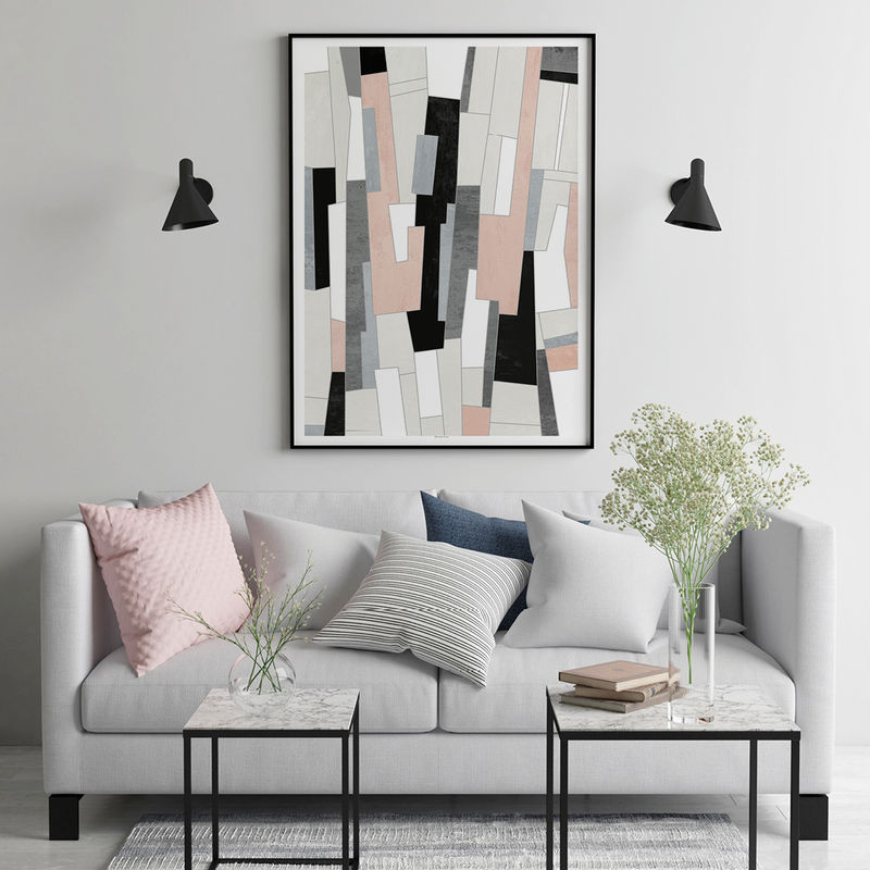 Abstract Art Print Pink And Grey Living Room Wall Art Fine Art Print Bronagh Kennedy Art Prints