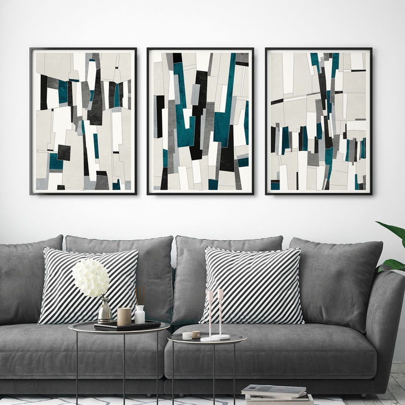 Set Of 3 Abstract Art Prints Office Wall Art Large Wall Prints Triptych Bronagh Kennedy Art Prints